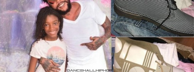 Vybz Kartel shows off his Christmas Clarks collection and his daugther
